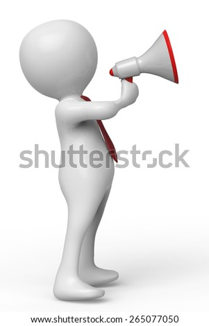businessman magaphone side view - stock photo