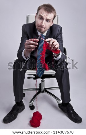 Businessman makes his career and success - stock photo