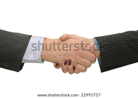Businessman making a pact isolated in a white background