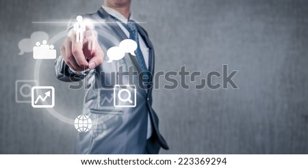 Businessman making decision on meeting work space - stock photo