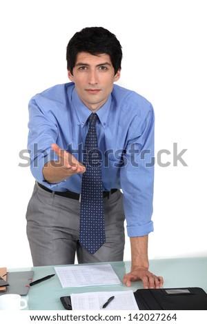 businessman making presentation - stock photo
