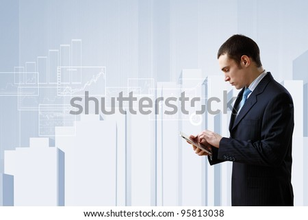 Businessman making presentation - stock photo