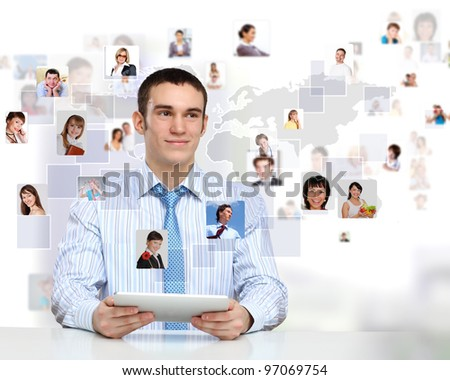 Businessman making presentation against social network bacjkground - stock photo