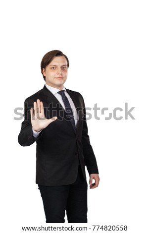 Businessman making stop sign. White background