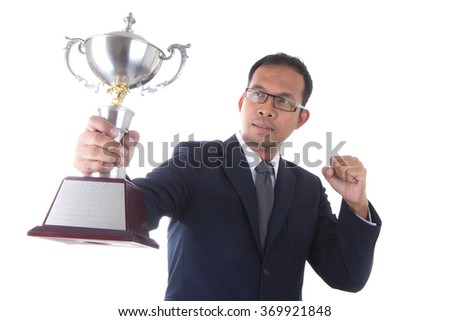 Businessman man hold trophies. success Isolated on white background.
