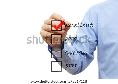 Businessman marking an excellent check box - stock photo