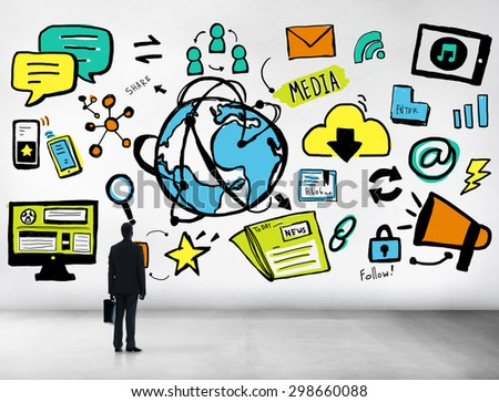 Businessman Media Global Communication Looking up Concept - stock photo