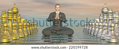 Businessman meditating peacefully on chessboard - 3D render - stock photo