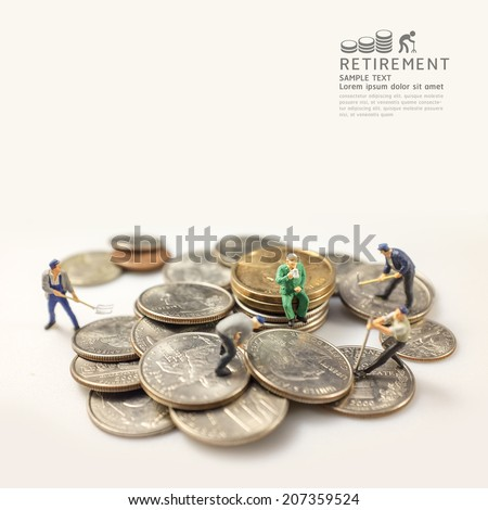 businessman miniature figure after retirement concept warm tone and focus on old man. - stock photo