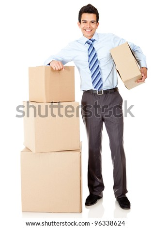 Businessman moving office and packing in boxes �¢?? isolated
