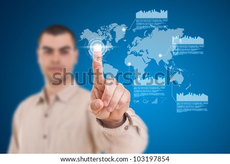 Businessman navigating interface in future