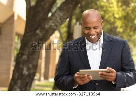 Businessman networking - stock photo