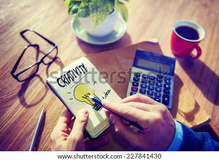 Businessman Notepad Creativity Ideas Concept - stock photo