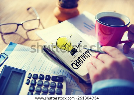Businessman Notepad Word Creativity Concept - stock photo
