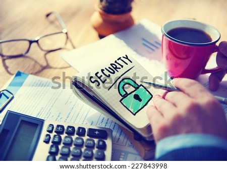 Businessman Notepad Word Security Concept - stock photo