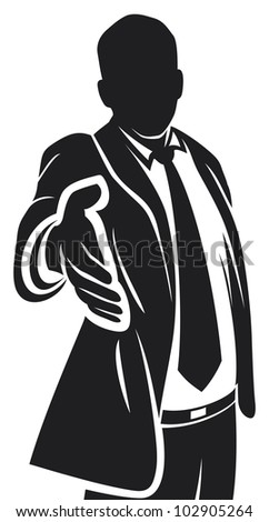 businessman offering his hand for handshake - stock photo