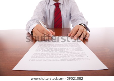businessman offering the pen for signing a contract (selective focus) - stock photo