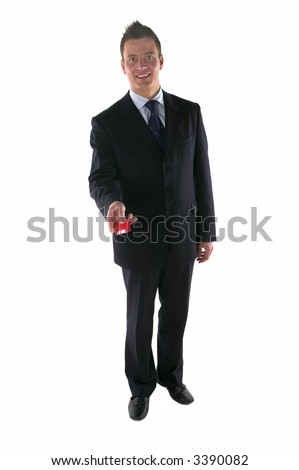 Businessman offering to pay by credit card, isolated on white.