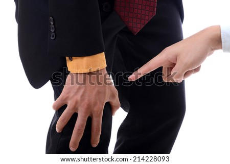 Businessman office man hand point to knee pain