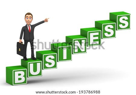 businessman on a business ladder  - stock photo