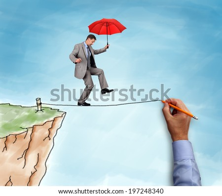 Businessman on a hand drawn tightrope and cliff holding red umbrella concept for business risk, challenge and assistance - stock photo