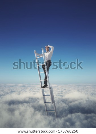 Businessman on a ladder above the clouds looking far away - stock photo