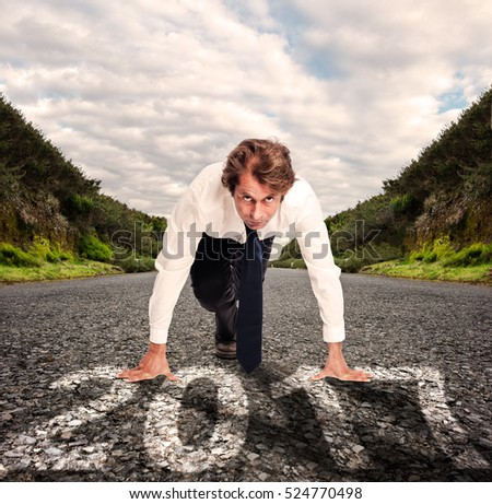 businessman on a road with year 2017 painted on it