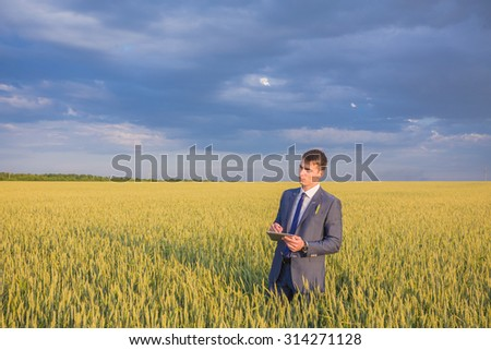 Businessman on a wheat field using a laptop - stock photo