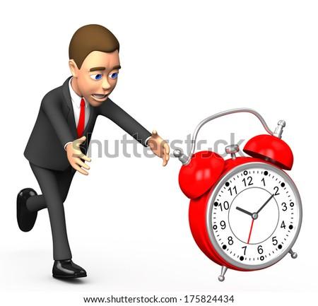 businessman on a white background chasing alarm - stock photo