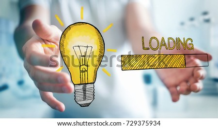 Businessman on blurred background holding and touching loading sketch