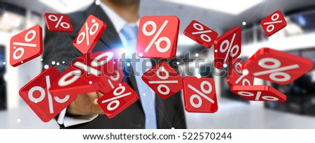 Businessman on blurred background touching sales icons with his finger 3D rendering