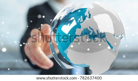 Businessman on blurred background using flying white and blue 3D rendering earth