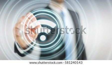 Businessman on blurred background using free wifi hotspot interface 3D rendering