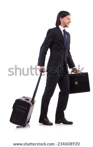Businessman on business trip with luggage - stock photo