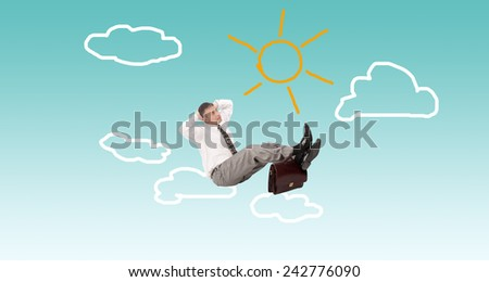 Businessman on clouds.Business Finance - stock photo