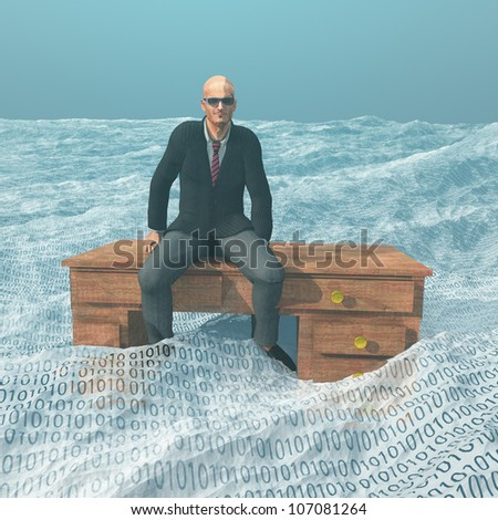 Businessman on desk afloat on binary ocean - stock photo