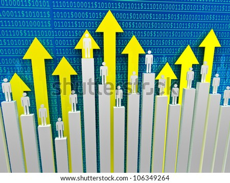 businessman on graph stat background