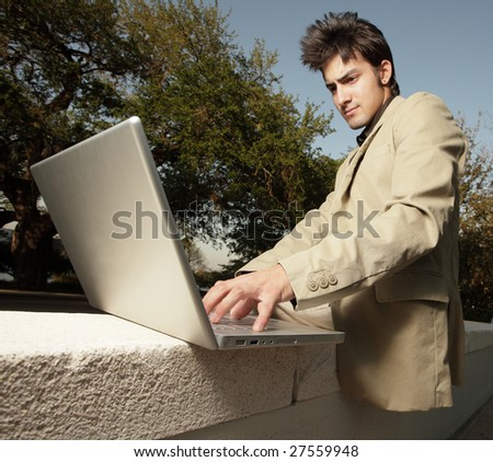 Businessman on his laptop