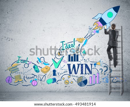Businessman on ladder drawing creative rocket ship sketch on concrete wall. Successful business start up concept