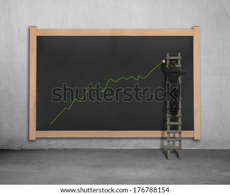 Businessman on ladder drawing growing green arrow trend on black board - stock photo