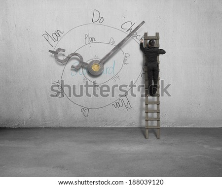 businessman on ladder drawing PDCA loop with clock hands on wall - stock photo