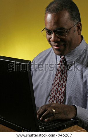 businessman on laptop pc - stock photo