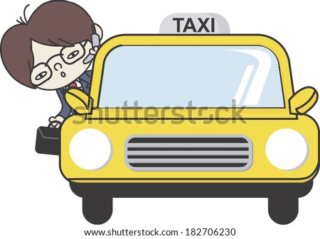 Businessman on phone in taxi