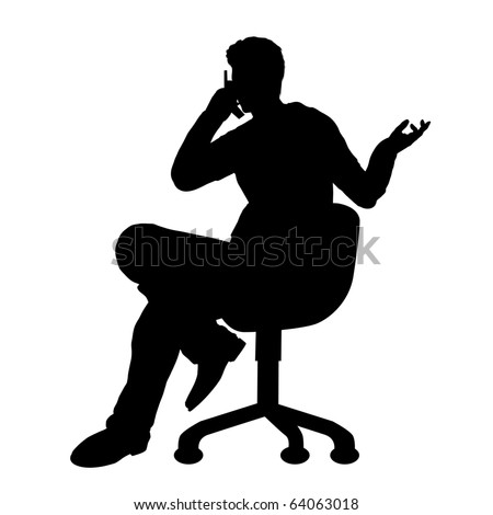 Businessman on phone silhouette illustration - stock photo