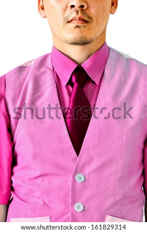 businessman on red shirt - stock photo