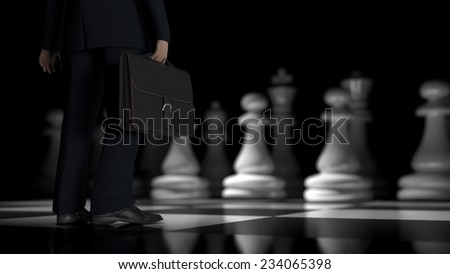 businessman on the chessboard - stock photo