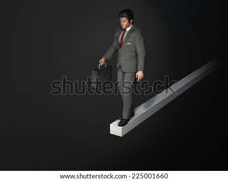 businessman on the edge of the abyss - stock photo