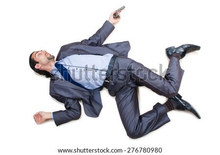 Businessman on the floor isolated on white - stock photo