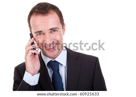 businessman on the phone, isolated on white background