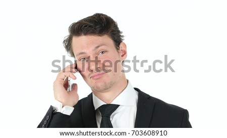 Businessman on White Background Talking on Phone